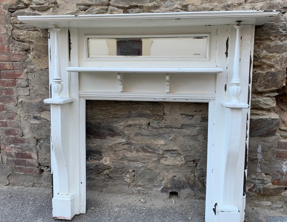 vintage salvaged 1800s 1900 1910 1920 1930 1940 1950 recycled demolition reproduction, restoration, renovation secondhand, used , original,old,reclaimed,heritage,antique, victorian,art nouveau edwardian, georgian,art decoEdwardian mantle piece , with double shelf and turned pillars , top shelf is 1615 mm x 290 mm , height is 1460 mm , opening is 920 mm wide x 905 mm high , $ 300