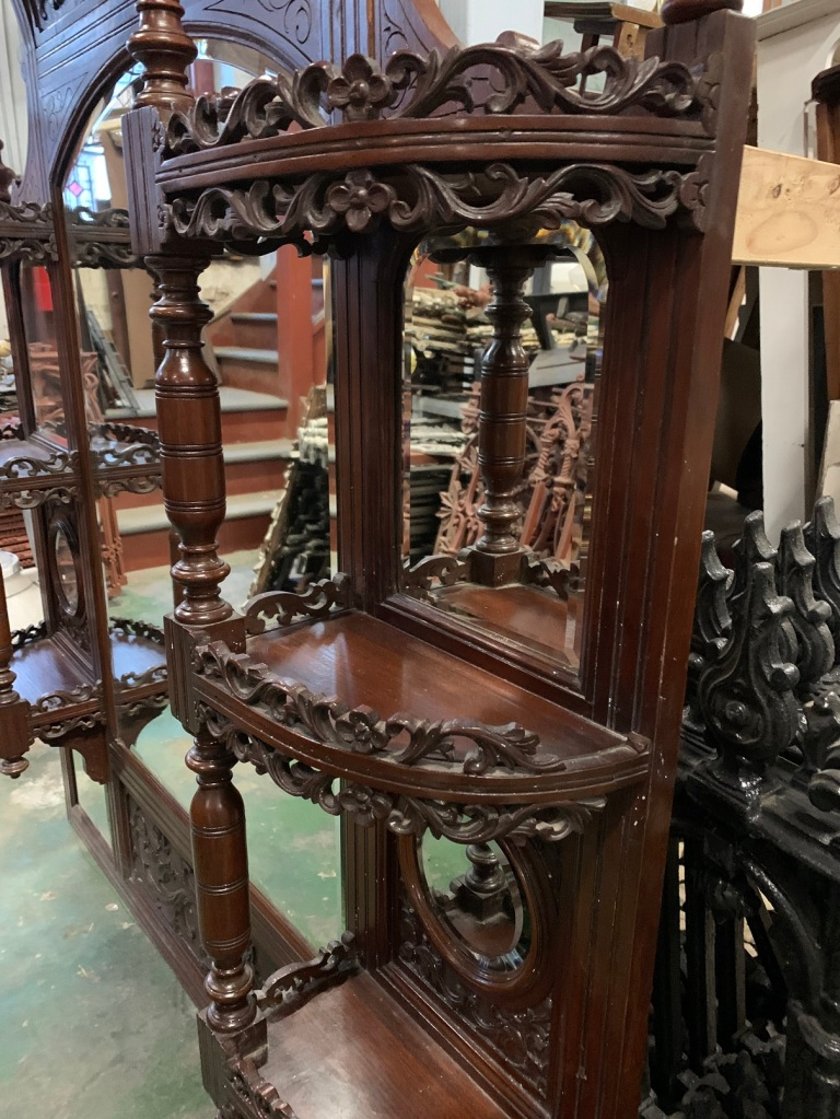 vintage salvaged 1800s 1900 1910 1920 1930 1940 1950 recycled demolition reproduction, restoration, renovation secondhand, used , original,old,reclaimed,heritage,antique, victorian,art nouveau edwardian, georgian,art decoDetail shot of Victorian mahogany over mantle