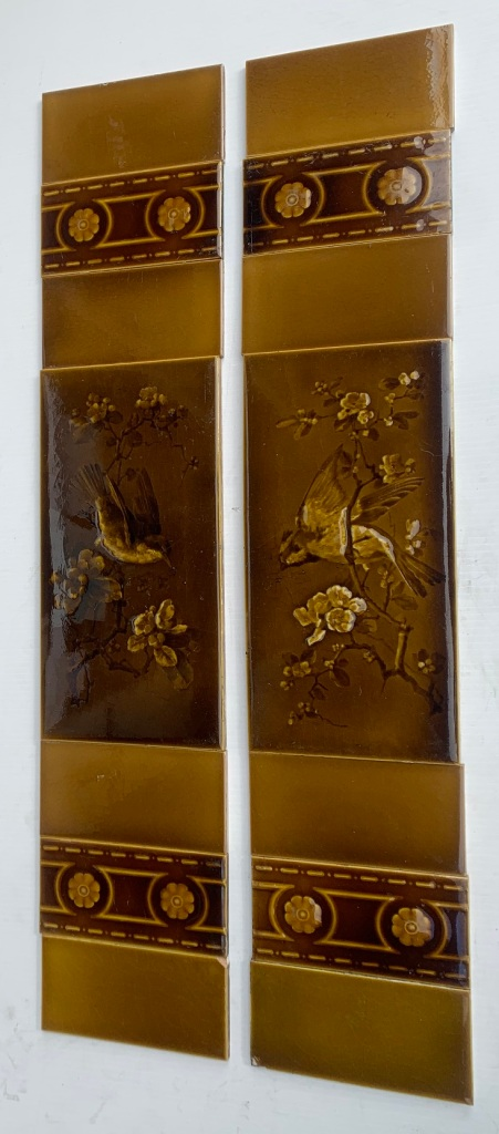 Birds and blossom branch pair of tiles by George Cartlidge for Sherwin and Cotton between 1896-1911, in two panel fireplace set, some damage to glaze, $320 OTB 133 salvaged, recycled, demolition, reproduction, restoration, home renovation secondhand, used , original, old, reclaimed, heritage, antique, victorian, art nouveau edwardian, georgian, art deco