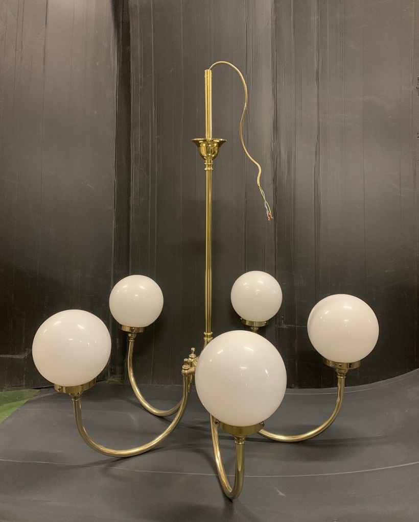 Brass 5 branch pendant light with white, ball shades, drop height 96 x width 55cm, 1 available $125salvaged, recycled, demolition, reproduction, restoration, home renovation secondhand, used , original, old, reclaimed, heritage, antique, victorian, art nouveau edwardian, georgian, art deco