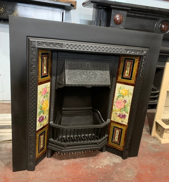 Restored Carron cast iron fireplace insert, turn of last century c1900, 965 x 965mm, with original fireplace tiles - hand painted 6 x 12 inch feature tiles with roses and rarely seen 6 x 9 inch feature tiles multiple colours and textures. $945 salvaged, recycled, demolition, reproduction, restoration, home renovation secondhand, used , original, old, reclaimed, heritage, antique, victorian, art nouveau edwardian, georgian, art deco