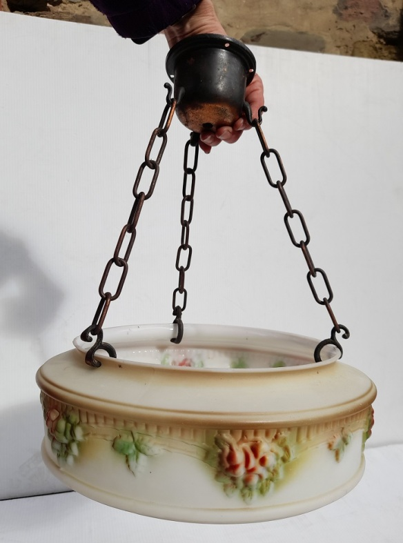 Moulded and frosted glass bowl shade, with chains and gallery finished in Florentine bronze, painted to highlight flower, foliage and pattern detail. Drop height 40cm (on chains), diameter 32cm $185 salvaged, recycled, demolition, reproduction, restoration, home renovation secondhand, used , original, old, reclaimed, heritage, antique, victorian, art nouveau edwardian, georgian, art deco