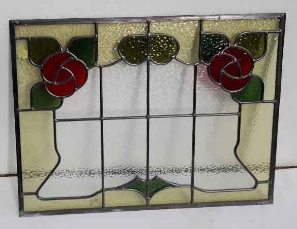 Matching leadlight panels, stylised red flowers. 475 x 630mm 8 available $330 each salvaged, recycled, demolition, reproduction, restoration, home renovation secondhand, used , original, old, reclaimed, heritage, antique, victorian, art nouveau edwardian, georgian, art deco