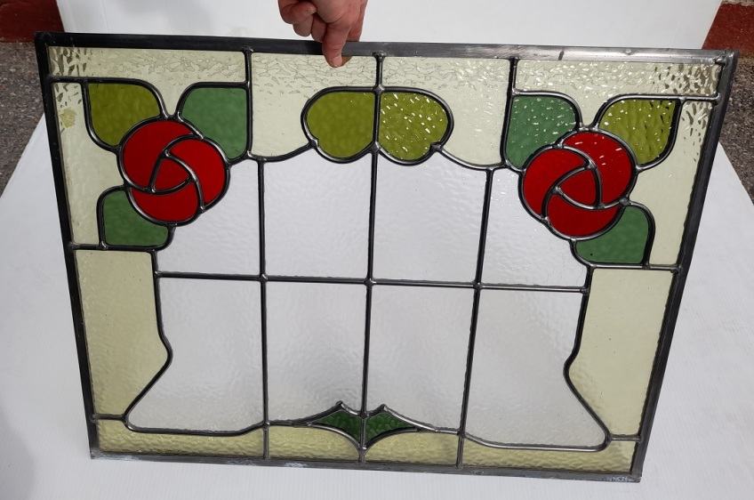 Matching leadlight panels, stylised red flowers. 475 x 630mm 8 available $330 each vintage salvaged 1800s 1900 1910 1920 1930 1940 1950 recycled demolition reproduction, restoration, renovation secondhand, used , original,old,reclaimed,heritage,antique, victorian,art nouveau edwardian, georgian,art decoSingle pendant light with white glass shade , 200 mm diameter x 1250 mm drop , 2 matching available , $ 145 each