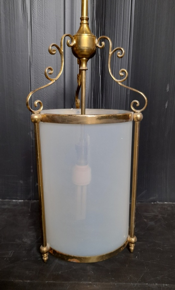 Victorian style pendant light, cylindrical translucent light shade, brass fittings, drop height 140cm, diameter 22cm, $345 vintagesalvaged, recycled, demolition, reproduction, restoration, home renovation secondhand, used , original, old, reclaimed, heritage, antique, victorian, art nouveau edwardian, georgian, art deco