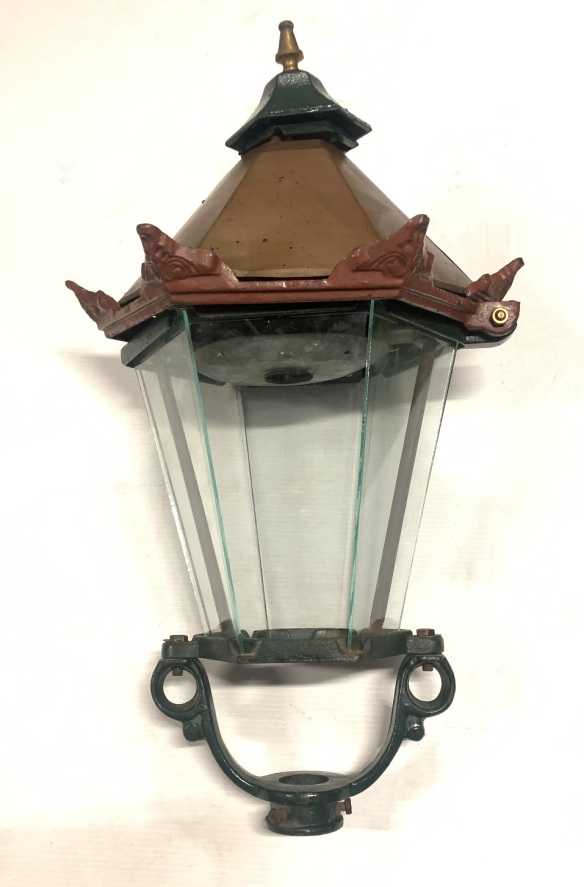 Lamp post lantern, cast iron with copper top and cast iron acroterion details . height 70cm x width 40cm, $345