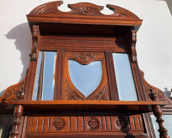 Detail of Original carved timber overmantle with bevel edge mirrors and turnings, $385salvaged, recycled, demolition, reproduction, restoration, home renovation secondhand, used , original, old, reclaimed, heritage, antique, victorian, art nouveau edwardian, georgian, art deco