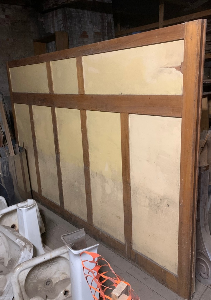 1920s office screen / partition ex Melbourne. Timber frame and timber panels. $150