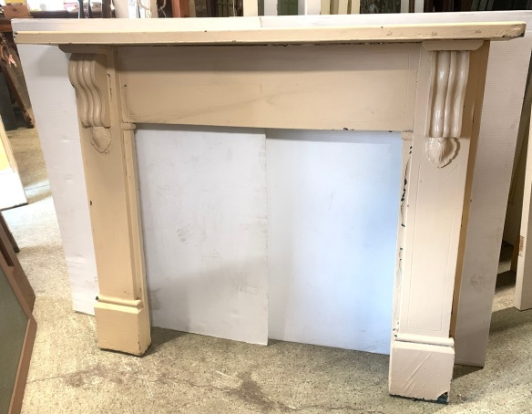 Original timber fireplace mantel, painted, with scrolls, top shelf width 1425 x h1160mm, opening width 913 x height 883mm, $220 salvaged, recycled, demolition, reproduction, restoration, home renovation secondhand, used , original, old, reclaimed, heritage, antique, victorian, art nouveau edwardian, georgian, art deco