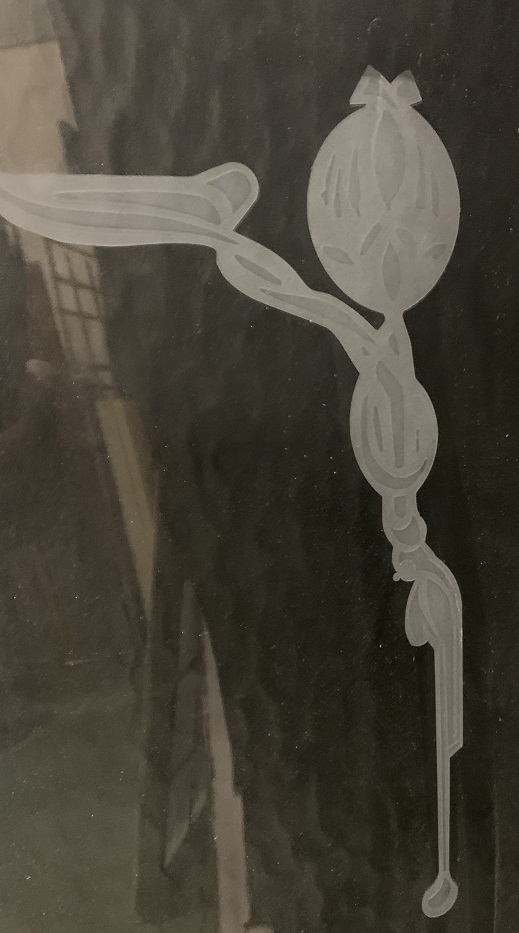 Detail of Timber framed fixed glass panel, clear glass with slight ripple texture, decorative etched border and detail, looks ready to have etched words added, H 132 x W 89 x D 3.5cm, $285 vintage salvaged 1800s 1900 1910 1920 1930 1940 1950 recycled demolition reproduction, restoration, renovation secondhand, used , original,old,reclaimed,heritage,antique, victorian,art nouveau edwardian, georgian,art decoSingle pendant light with white glass shade , 200 mm diameter x 1250 mm drop , 2 matching available , $ 145 each
