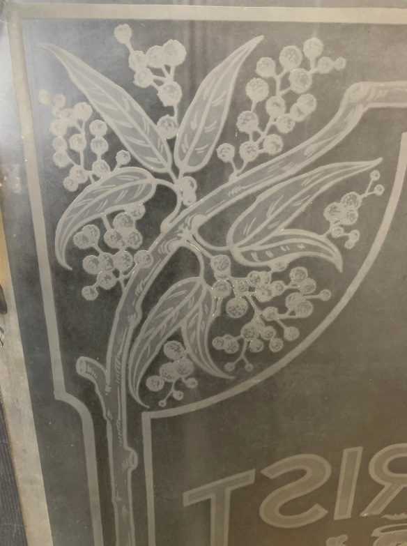 Wattle detail of Rare Tourist Bureau glass pane, lion and unicorn holding shield emblem, golden wattle motif in corners, etched detail, likely late Victorian era, 1307 x 600mm, $545 vintage salvaged 1800s 1900 1910 1920 1930 1940 1950 recycled demolition reproduction, restoration, renovation secondhand, used , original,old,reclaimed,heritage,antique, victorian,art nouveau edwardian, georgian,art decoSingle pendant light with white glass shade , 200 mm diameter x 1250 mm drop , 2 matching available , $ 145 each