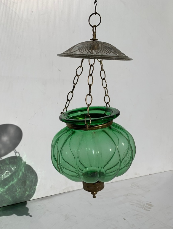 Val St Lambert, crystal glass pendant candle light shade, made in Belgium, green glass with smoke cover, brass fittings and chains, approx 55cm drop height, 20cm diameter, two available, $220 each salvaged, recycled, demolition, reproduction, restoration, home renovation secondhand, used , original, old, reclaimed, heritage, antique, victorian, art nouveau edwardian, georgian, art deco