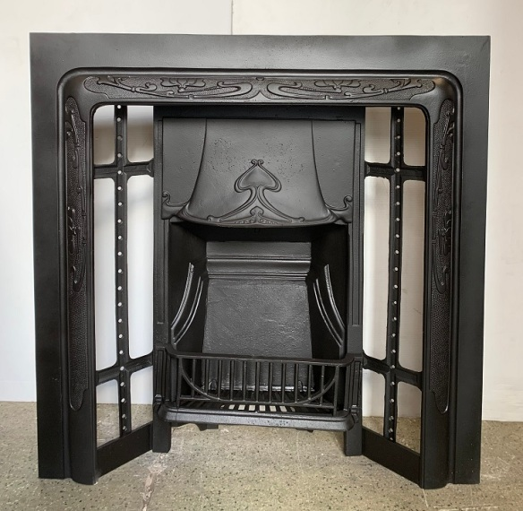 Original Art Nouveau cast iron fireplace insert, fully restored 965 x 965mm $560 vintage salvaged, recycled, demolition, reproduction, restoration, home renovation secondhand, used , original, old, reclaimed, heritage, antique, victorian, art nouveau edwardian, georgian, art deco