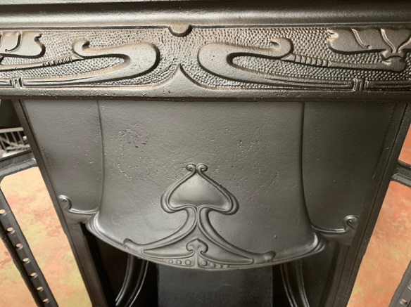 Detail of original Art Nouveau cast iron fireplace insert, fully restored 965 x 965mm $560 salvaged, recycled, demolition, reproduction, restoration, home renovation secondhand, used , original, old, reclaimed, heritage, antique, victorian, art nouveau edwardian, georgian, art deco