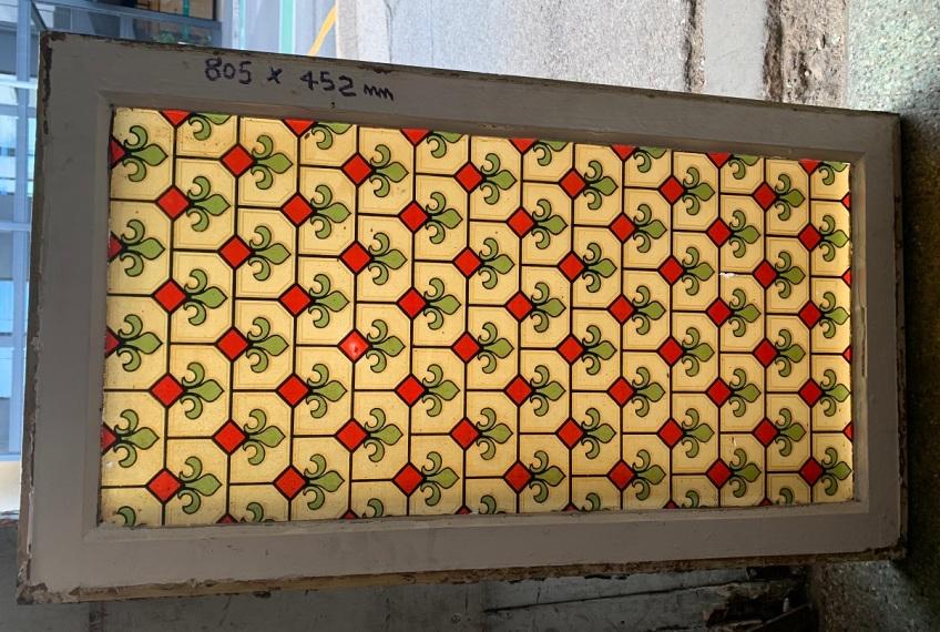 Rare original Victorian era transfer print hopper window / fanlight for above door, frame 805 x 452mm, $220 salvaged, recycled, demolition, reproduction, restoration, home renovation secondhand, used , original, old, reclaimed, heritage, antique, victorian, art nouveau edwardian, georgian, art deco