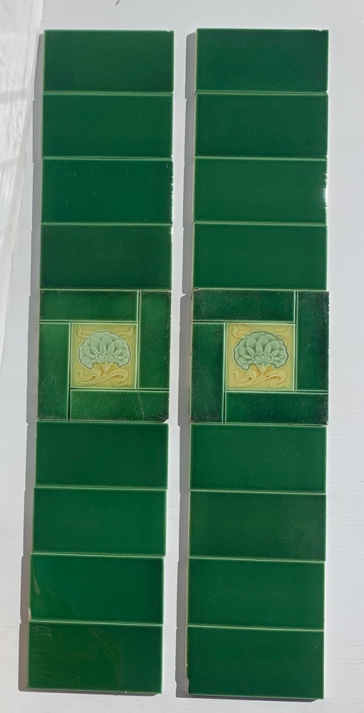 Original feature tiles c1900, greens and yellow with stylised flower, some light scratches, two panel fireplace set, $150 OTB 153vintage salvaged 1800s 1900 1910 1920 1930 1940 1950 recycled demolition reproduction, restoration, renovation secondhand, used , original,old,reclaimed,heritage,antique, victorian,art nouveau edwardian, georgian,art decoSingle pendant light with white glass shade , 200 mm diameter x 1250 mm drop , 2 matching available , $ 145 each