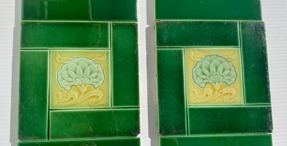 Detail original feature tiles c1900, greens and yellow with stylised flower, some light scratches, two panel fireplace set, $150 OTB 153 vintage salvaged 1800s 1900 1910 1920 1930 1940 1950 recycled demolition reproduction, restoration, renovation secondhand, used , original,old,reclaimed,heritage,antique, victorian,art nouveau edwardian, georgian,art decoSingle pendant light with white glass shade , 200 mm diameter x 1250 mm drop , 2 matching available , $ 145 each