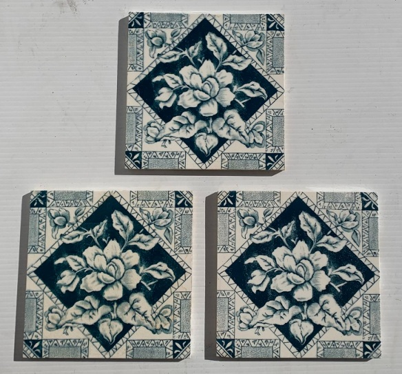 Aesthetic period floral print tile, c1895 T&R Boote, England. deep blue on white clay, 3 tiles available, $35 each WS vintage salvaged 1800s 1900 1910 1920 1930 1940 1950 recycled demolition reproduction, restoration, renovation secondhand, used , original,old,reclaimed,heritage,antique, victorian,art nouveau edwardian, georgian,art decoSingle pendant light with white glass shade , 200 mm diameter x 1250 mm drop , 2 matching available , $ 145 each