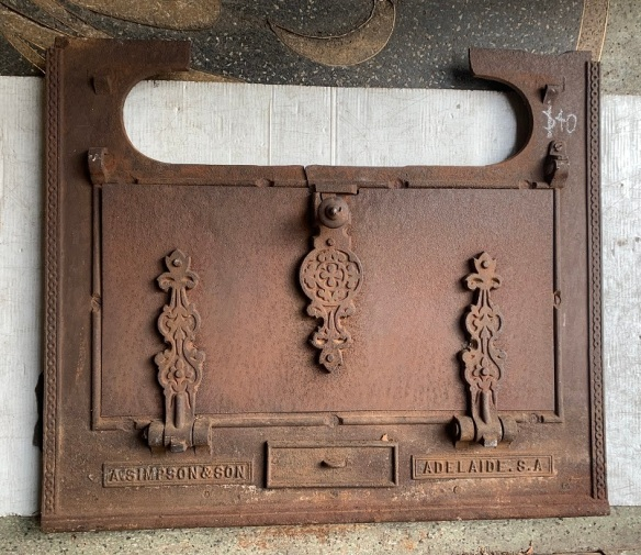 Old Simpson oven door, cast iron, some damage, possibly adapt for pizza oven? w 77cm x h 65cm $40 salvaged, recycled, demolition, reproduction, restoration, home renovation secondhand, used , original, old, reclaimed, heritage, antique, victorian, art nouveau edwardian, georgian, art deco