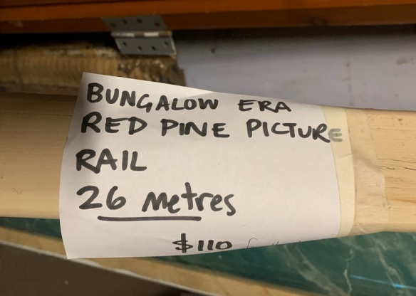 Bungalow era, red pine picture rails, 26 metres in total $110 the lot