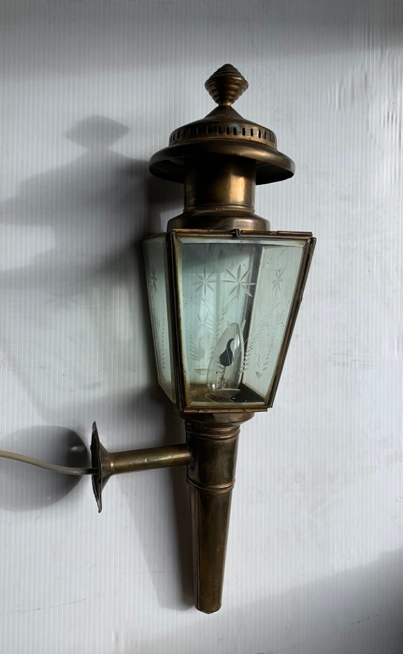 Wall mounted brass carriage light with cut glass detail. height 52cm, width 13cm, $245salvaged, recycled, demolition, reproduction, restoration, home renovation secondhand, used , original, old, reclaimed, heritage, antique, victorian, art nouveau edwardian, georgian, art deco