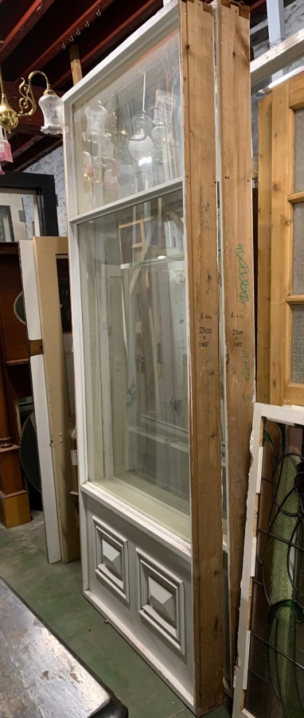 Two large fixed window panels, timber fielded panels at base. Could suit extension / studio build. Height 2700 x width 1185mm, two available $440 each vintage salvaged 1800s 1900 1910 1920 1930 1940 1950 recycled demolition reproduction, restoration, renovation secondhand, used , original,old,reclaimed,heritage,antique, victorian,art nouveau edwardian, georgian,art decoSingle pendant light with white glass shade , 200 mm diameter x 1250 mm drop , 2 matching available , $ 145 each