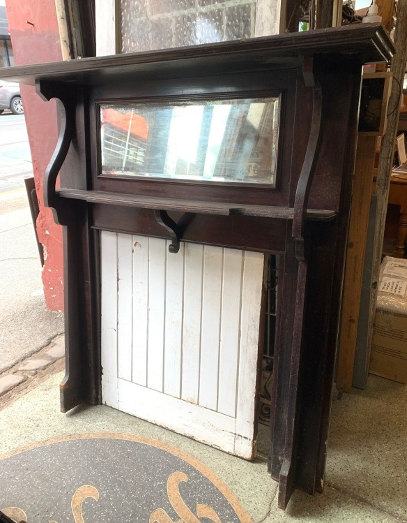 Federation era fire surround, double shelf with bevelled edge mirror, height 1280 x width 1420mm, opening h 910 x w 920mm, $300 salvaged vintage recycled, demolition, reproduction, restoration, home renovation secondhand, used , original, old, reclaimed, heritage, antique, victorian, art nouveau edwardian georgian art deco