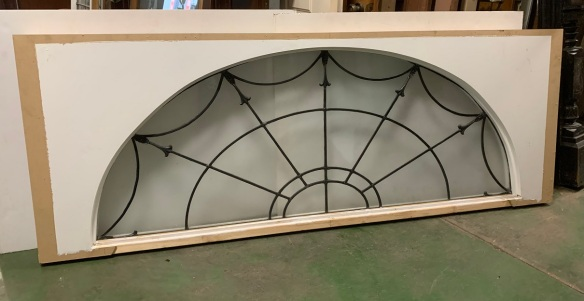 Large arched Classical style leadlight window with unusual cast lead decorative mounts on the radials, boxed frame, early 20th century 1880mm wide x 730mm, $945 salvaged vintage recycled, demolition, reproduction, restoration, home renovation secondhand, used , original, old, reclaimed, heritage, antique, victorian, art nouveau edwardian georgian art deco