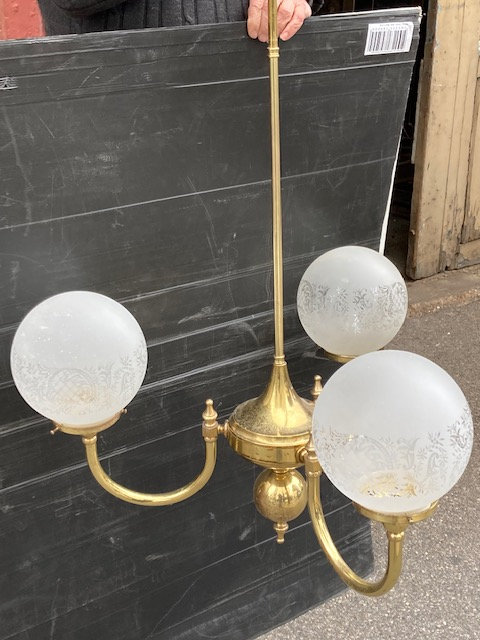 Brass three branch pendant light, white ball shades, 114cm drop $345 vintagesalvaged, recycled, demolition, reproduction, restoration, home renovation secondhand, used , original, old, reclaimed, heritage, antique, victorian, art nouveau edwardian, georgian, art deco