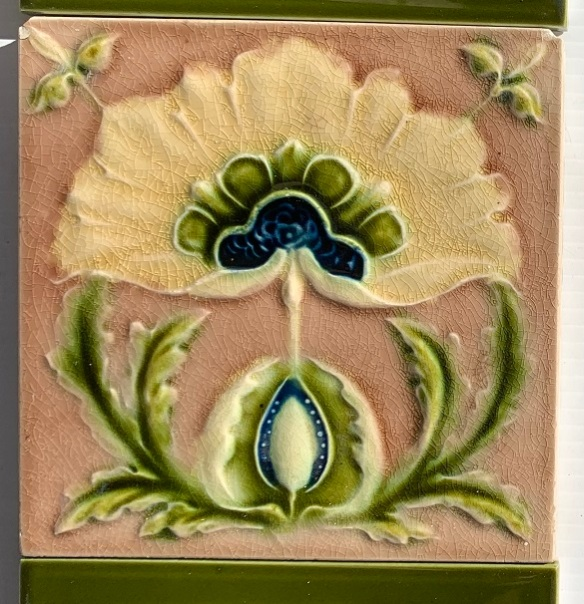 Detail of Original Corn Bros. England feature tiles. made between 1898-1904, stylised flower, Aesthetic era, mushroom pink/brown, deep cream petals and olive green foliage, 6 tiles available, $145 per pair for very good condition tiles / $100 for pair with darker colour in the crazing SET 290 vintage salvaged 1800s 1900 1910 1920 1930 1940 1950 recycled demolition reproduction, restoration, renovation secondhand, used , original,old,reclaimed,heritage,antique, victorian,art nouveau edwardian, georgian,art decoSingle pendant light with white glass shade , 200 mm diameter x 1250 mm drop , 2 matching available , $ 145 each