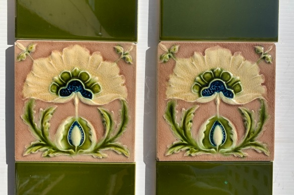 Detail of Original Corn Bros. England feature tiles. made between 1898-1904, stylised flower, Aesthetic era, mushroom pink/brown, deep cream petals and olive green foliage, two panel fireplace set (6 additional tiles available in SET 290 ) $350 OTB 154 vintage salvaged 1800s 1900 1910 1920 1930 1940 1950 recycled demolition reproduction, restoration, renovation secondhand, used , original,old,reclaimed,heritage,antique, victorian,art nouveau edwardian, georgian,art decoSingle pendant light with white glass shade , 200 mm diameter x 1250 mm drop , 2 matching available , $ 145 each