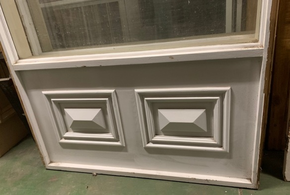 Detail of fielded panels in Large fixed window panels. Could be part of studio walls. Height 2700 x width 1185mm, 2 available, $440 each salvaged, recycled, demolition, reproduction, restoration, home renovation secondhand, used , original, old, reclaimed, heritage, antique, victorian, art nouveau edwardian, georgian, art deco