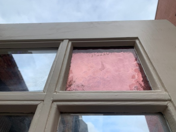 Solid timber French doors, astragal, clear glass with pink corner glass. 1505 x 2020mm, $545 Solid timber French doors, astrigal, clear glass with pink corner glass. 1505 x 2020mm, $545salvaged vintage recycled, demolition, reproduction, restoration, home renovation secondhand, used , original, old, reclaimed, heritage, antique, victorian, art nouveau edwardian georgian art deco
