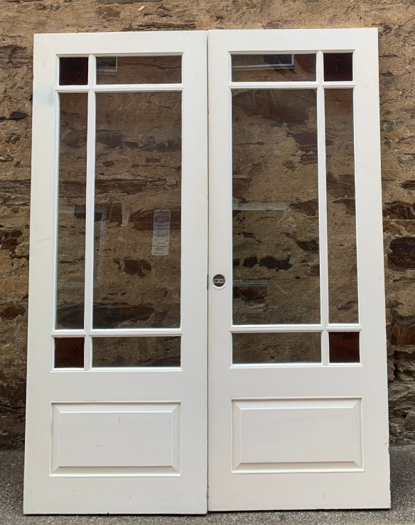 Solid timber French doors, astrigal, clear glass with pink corner glass. 1505 x 2020mm, $545 salvaged vintage recycled, demolition, reproduction, restoration, home renovation secondhand, used , original, old, reclaimed, heritage, antique, victorian, art nouveau edwardian georgian art deco
