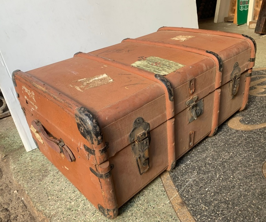 Vintage banded steamer trunk, timber ribs, depth 51 x width 76 x height 34cm $110