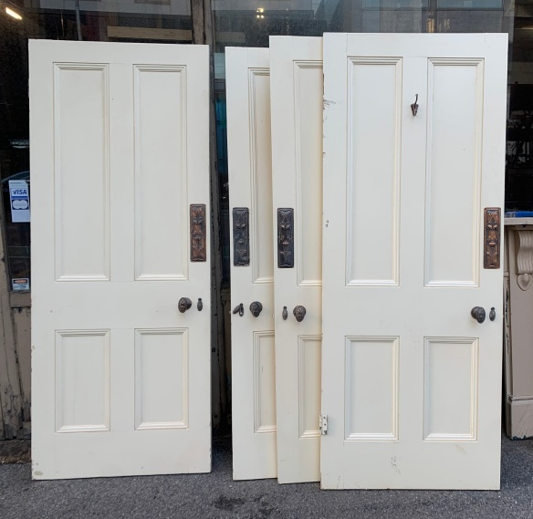Four panel Victorian style internal doors, matching, with push plates and handles. 4 available, 805x2015mm, 807x2012mm, 805x2020mm, 805x2030mm $220 ea salvaged, vintage recycled, demolition, reproduction, restoration, home renovation secondhand, used , original, old, reclaimed, heritage, antique, victorian, art nouveau edwardian, georgian, art decoDetail of Deco style lettering to pub door