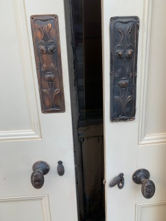 Four panel Victorian style internal doors, matching, with push plates, handles, key escutcheons. 4 available, 805x2015mm, 807x2012mm, 805x2020mm, 805x2030mm $220 ea salvaged vintage recycled, demolition, reproduction, restoration, home renovation secondhand, used , original, old, reclaimed, heritage, antique, victorian, art nouveau edwardian georgian art deco