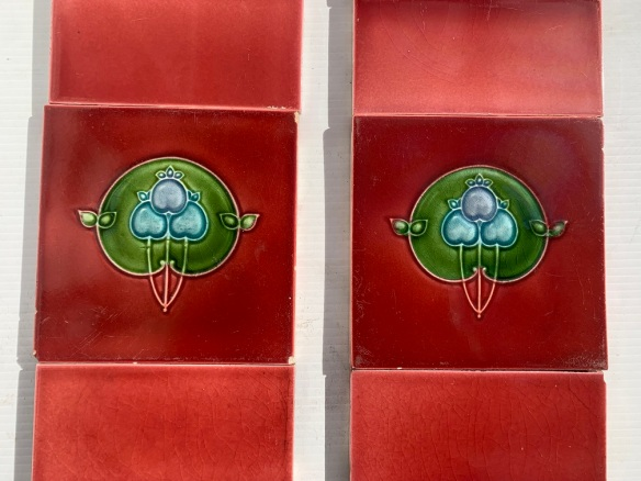 Pilkington Tile Co. England c 1930 feature tiles in lavender, blue and green on light burgundy background, original 3 x 6 inch tiles, two panel fireplace set, $330 OTB 155 vintage salvaged 1800s 1900 1910 1920 1930 1940 1950 recycled demolition reproduction, restoration, renovation secondhand, used , original,old,reclaimed,heritage,antique, victorian,art nouveau edwardian, georgian,art decoSingle pendant light with white glass shade , 200 mm diameter x 1250 mm drop , 2 matching available , $ 145 each