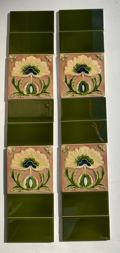 Original Corn Bros. England feature tiles. made between 1898-1904, stylised flower, Aesthetic era, mushroom pink/brown, deep cream petals and olive green foliage, two panel fireplace set (6 additiOriginal Corn Bros. England feature tiles. made between 1898-1904, stylised flower, Aesthetic era, mushroom pink/brown, deep cream petals and olive green foliage, two panel fireplace set (6 additional tiles available in SET 290 ) $350 OTB 154 ovintage salvaged 1800s 1900 1910 1920 1930 1940 1950 recycled demolition reproduction, restoration, renovation secondhand, used , original,old,reclaimed,heritage,antique, victorian,art nouveau edwardian, georgian,art deco