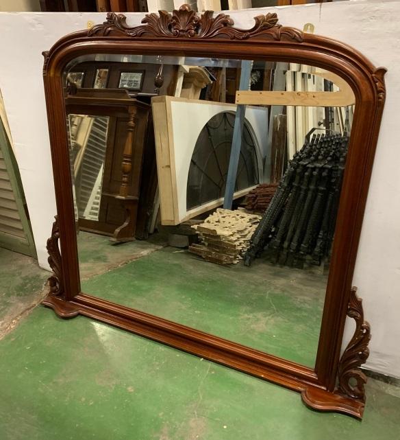 Carved timber frame overmantle