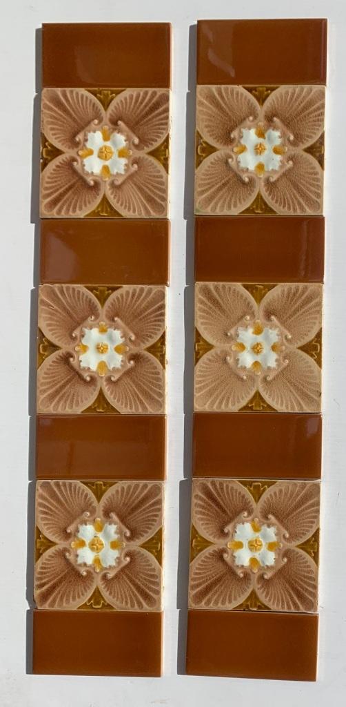 Corn Bros, England moulded design c1900. unusual quatrefoil stylised flower, two panel set $320 OTB 158