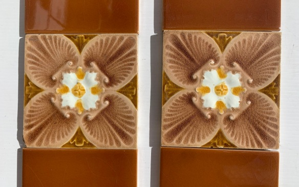 Detail of Corn Bros, England moulded design c1900. unusual quatrefoil stylised flower, two panel set $320 OTB 158 1800s 1900 1910 1920 1930 1940 1950 recycled demolition reproduction, restoration, renovation secondhand, used , original,old,reclaimed,heritage,antique, victorian,art nouveau edwardian, georgian,art decoSingle pendant light with white glass shade , 200 mm diameter x 1250 mm drop , 2 matching available , $ 145 each