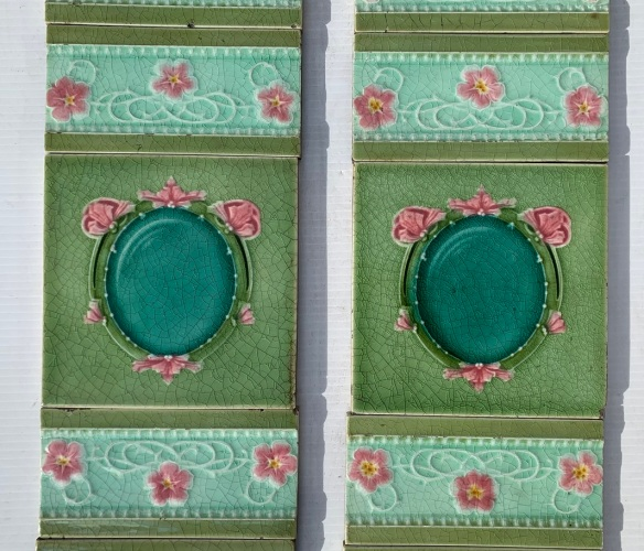 detail of Circa 1900, T and R Boote, England, feature tiles, with feature 3x x 6 inch tiles, majolica glaze in greens and pink, floral frame design. top tiles had been clipped - not visible when in fireplace. 2 panel set $270 OTB 161vintage salvaged 1800s 1900 1910 1920 1930 1940 1950 recycled demolition reproduction, restoration, renovation secondhand, used , original,old,reclaimed,heritage,antique, victorian,art nouveau edwardian, georgian,art decoSingle pendant light with white glass shade , 200 mm diameter x 1250 mm drop , 2 matching available , $ 145 each