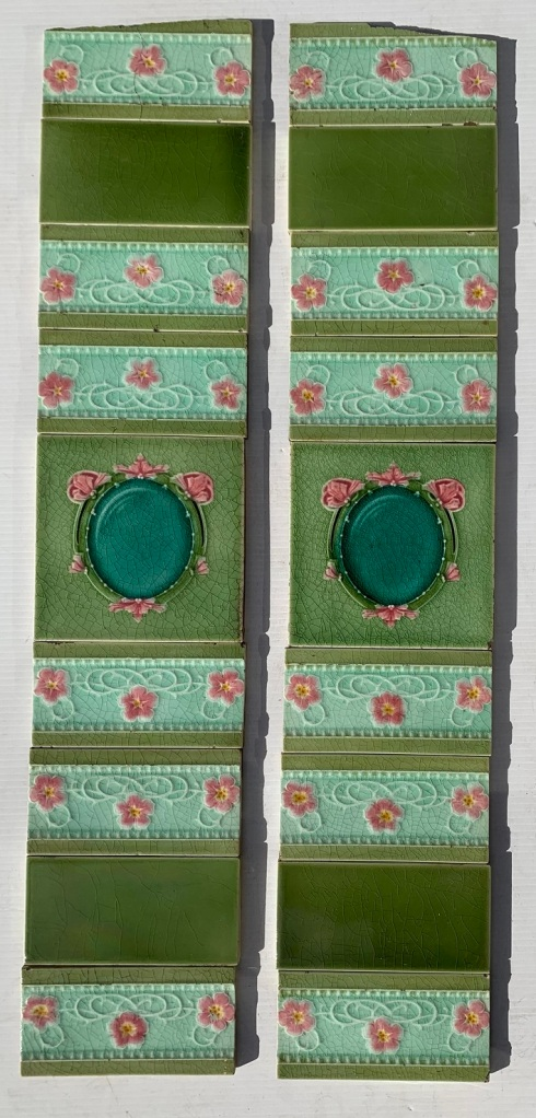 Circa 1900, T and R Boote, England, feature tiles, with feature 3x x 6 inch tiles, majolica glaze in greens and pink, floral frame design. top tiles had been clipped - not visible when in fireplace. 2 panel set $270 OTB 161vintage salvaged 1800s 1900 1910 1920 1930 1940 1950 recycled demolition reproduction, restoration, renovation secondhand, used , original,old,reclaimed,heritage,antique, victorian,art nouveau edwardian, georgian,art decoSingle pendant light with white glass shade , 200 mm diameter x 1250 mm drop , 2 matching available , $ 145 each