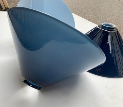 SAOLD Midnight blue glass conical light shades, diameter 29.5cm, three available,