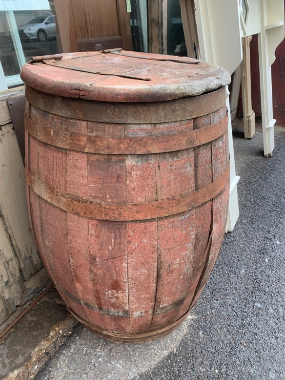 Timber barrel with hinged timber lid (needs repair) approx 60cm diameter $50 salvaged, recycled, demolition, reproduction, restoration, home renovation secondhand, used , original, old, reclaimed, heritage, antique, victorian, art nouveau edwardian, georgian, art deco