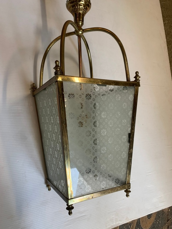 Hall light, etched pattern glass, drop height 1120mm x width 240mm $325salvaged, recycled, demolition, reproduction, restoration, home renovation secondhand, used , original, old, reclaimed, heritage, antique, victorian, art nouveau edwardian, georgian, art deco