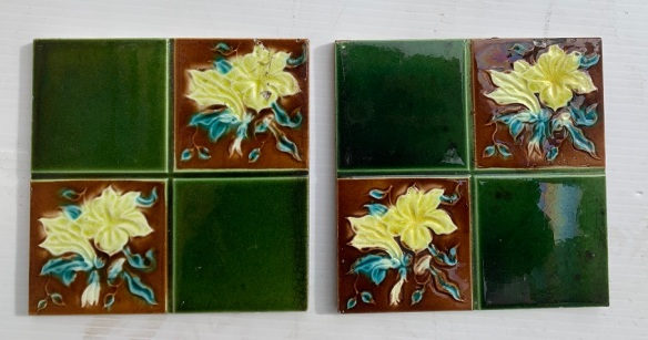 Original English features tiles, some chips to edde. $20 each SET 293 vintage salvaged 1800s 1900 1910 1920 1930 1940 1950 recycled demolition reproduction, restoration, renovation secondhand, used , original,old,reclaimed,heritage,antique, victorian,art nouveau edwardian, georgian,art decoSingle pendant light with white glass shade , 200 mm diameter x 1250 mm drop , 2 matching available , $ 145 each