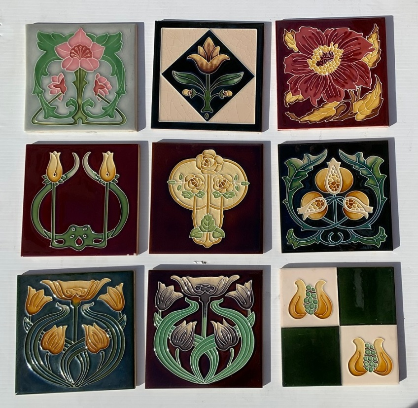 Single tiles, last of reproduction display stock, $25 each (please call to confirm if the tile you are wanting is still in store) SBsalvaged, recycled, demolition, reproduction, restoration, home renovation secondhand, used , original, old, reclaimed, heritage, antique, victorian, art nouveau edwardian, georgian, art deco