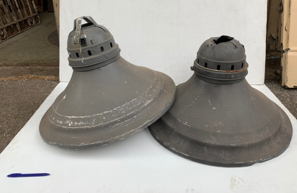 repair needed to top of one lightshade 63cm diam $125 each vintage salvaged 1800s 1900 1910 1920 1930 1940 1950 recycled demolition reproduction, restoration, renovation secondhand, used , original,old,reclaimed,heritage,antique, victorian,art nouveau edwardian, georgian,art decoSingle pendant light with white glass shade , 200 mm diameter x 1250 mm drop , 2 matching available , $ 145 each
